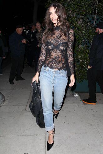 top lace lace top see through emily ratajkowski jeans denim model off-duty shoes