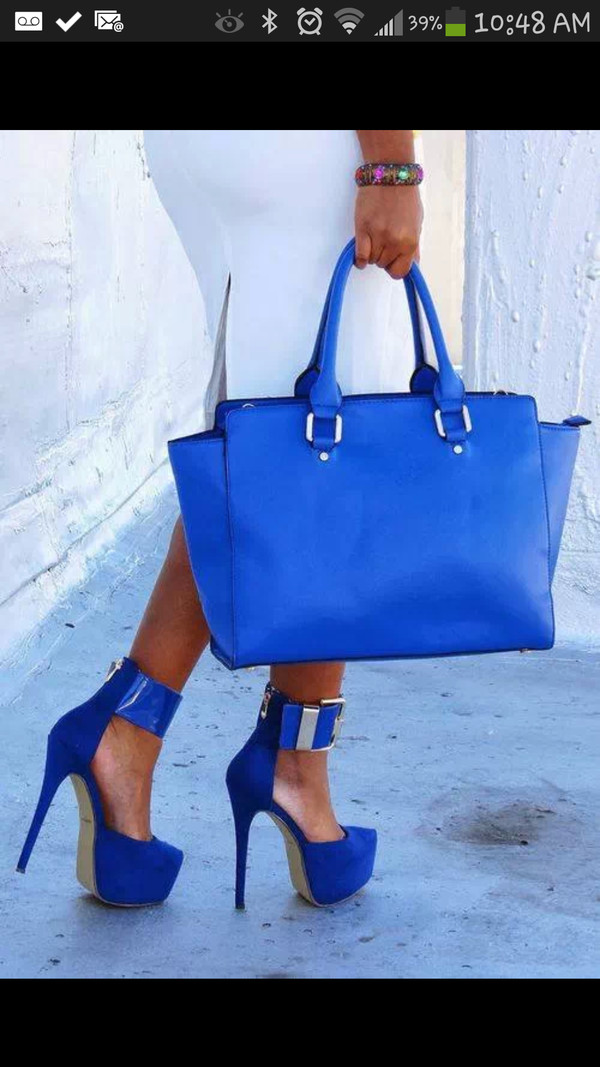 bag blue high heels blue purse