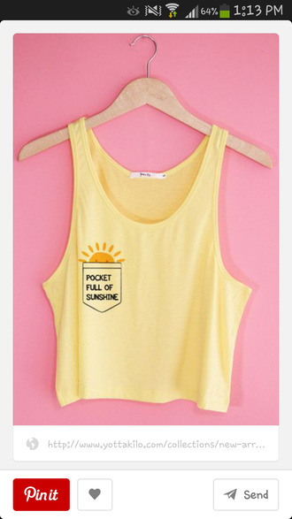 shirt yellow tank top pockets pocket tank sun sunshine crop tops funny
