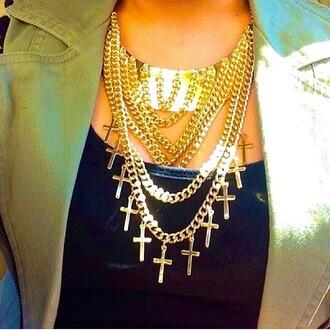 jewels collier croix dor? cha?ne