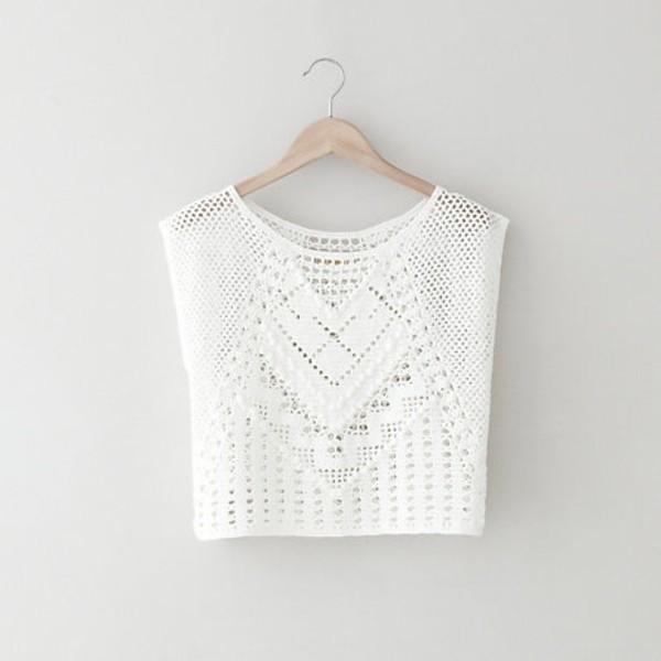 blouse clothes shirt white crochet pretty cute tropical tank top boho crop tops knitted top