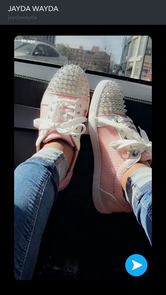 shoes pink sneakers snake skin spiked shoes