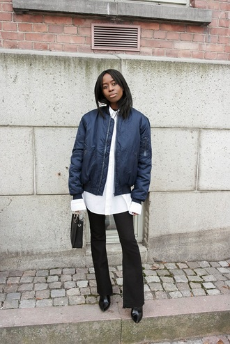 sylvie mus blogger bomber jacket black pants white shirt navy