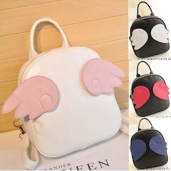 Street Fashion Harajuku Style Angel Wing Backpack Totes Satchel Handbag Bags PU | eBay