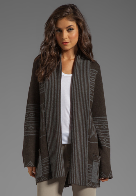 TWELFTH STREET BY CYNTHIA VINCENT Anniversary Log Cab Sweater in Army - Sweater Coats