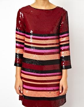 ASOS | ASOS Sequin Stripe Tee Dress at ASOS