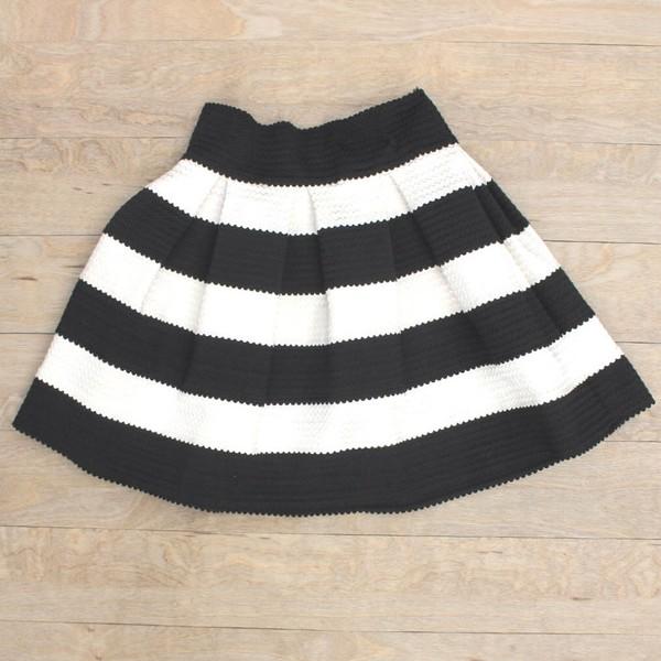 skirt black white striped skirt