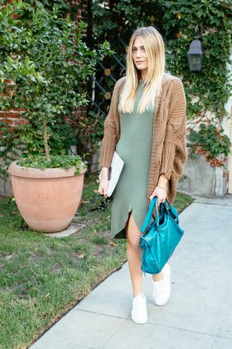 devon rachel blogger dress blue bag oversized cardigan knitted cardigan olive green camel cardigan cardigan asymmetrical asymmetrical dress green dress bag teal sneakers low top sneakers white sneakers