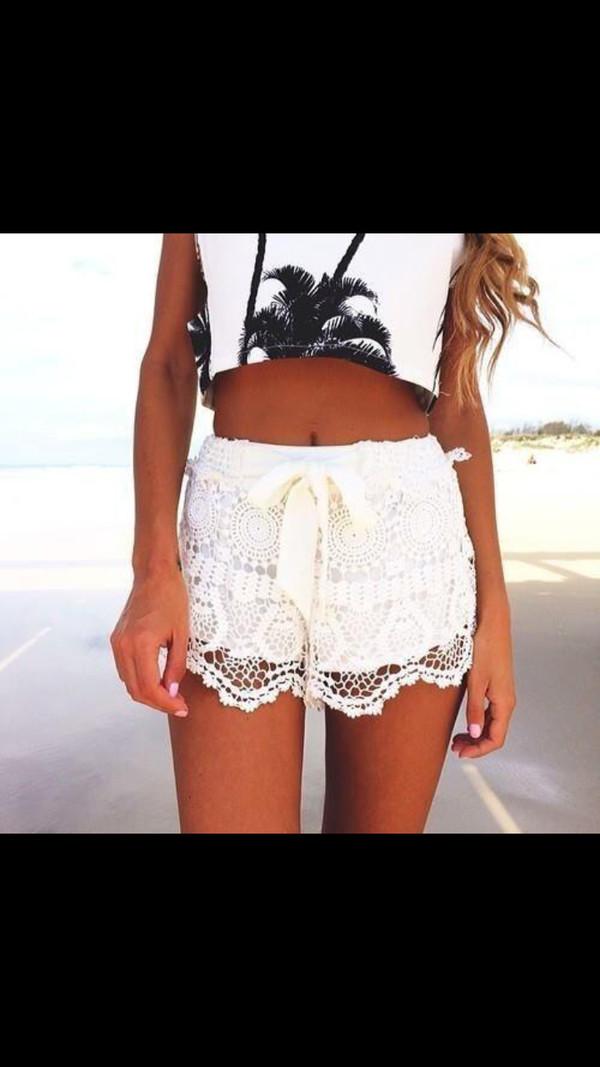 shorts top white lace shorts skirt fashion