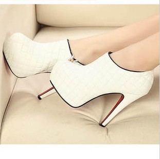 2014 New Spring/Autumn/Winter Fashion Women's High Heels Ankle Boots, Sexy Red Sole Stiletto Heel Booties in Black/White Leather-inBoots from Shoes on Aliexpress.com