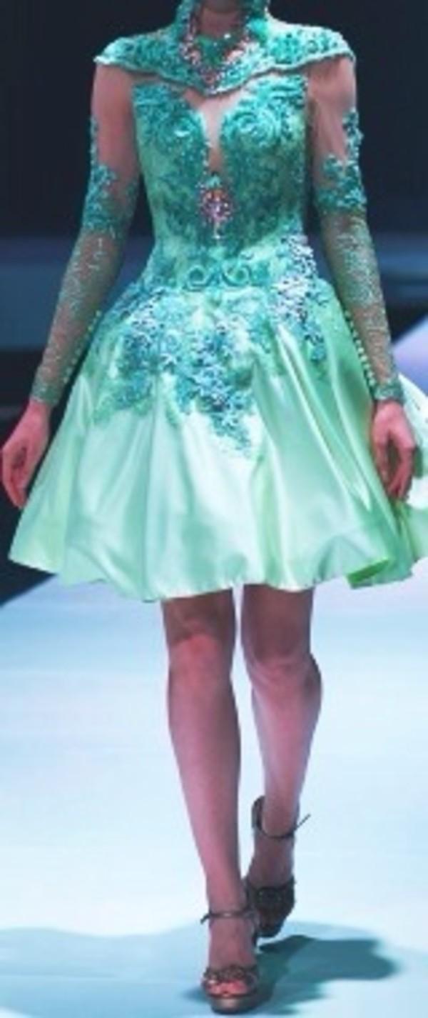 dress teal lace fashion prom dress
