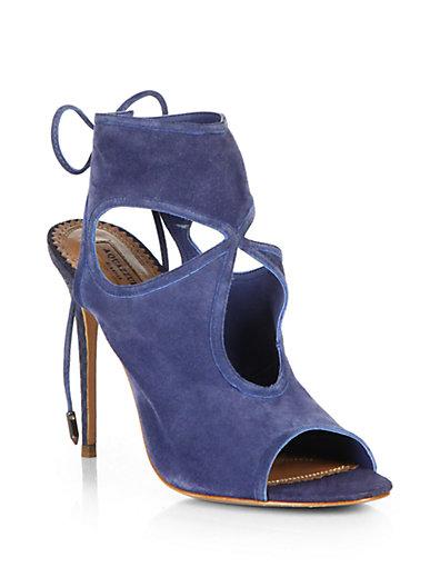 Aquazzura - Suede Cutout Sandals - Saks.com