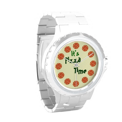 It's Pizza Time Funny Wrist Watch | Zazzle.co.uk