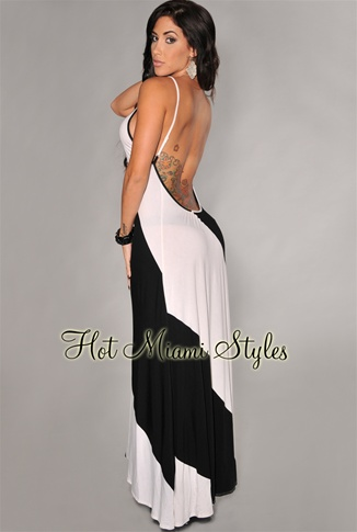 Black Ivory Bold Diagonal Stripes Daring Back Maxi Dress