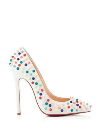 Christian Louboutin Pigalle Spikes 120mm Leather Studded Pumps in White - Avenue K