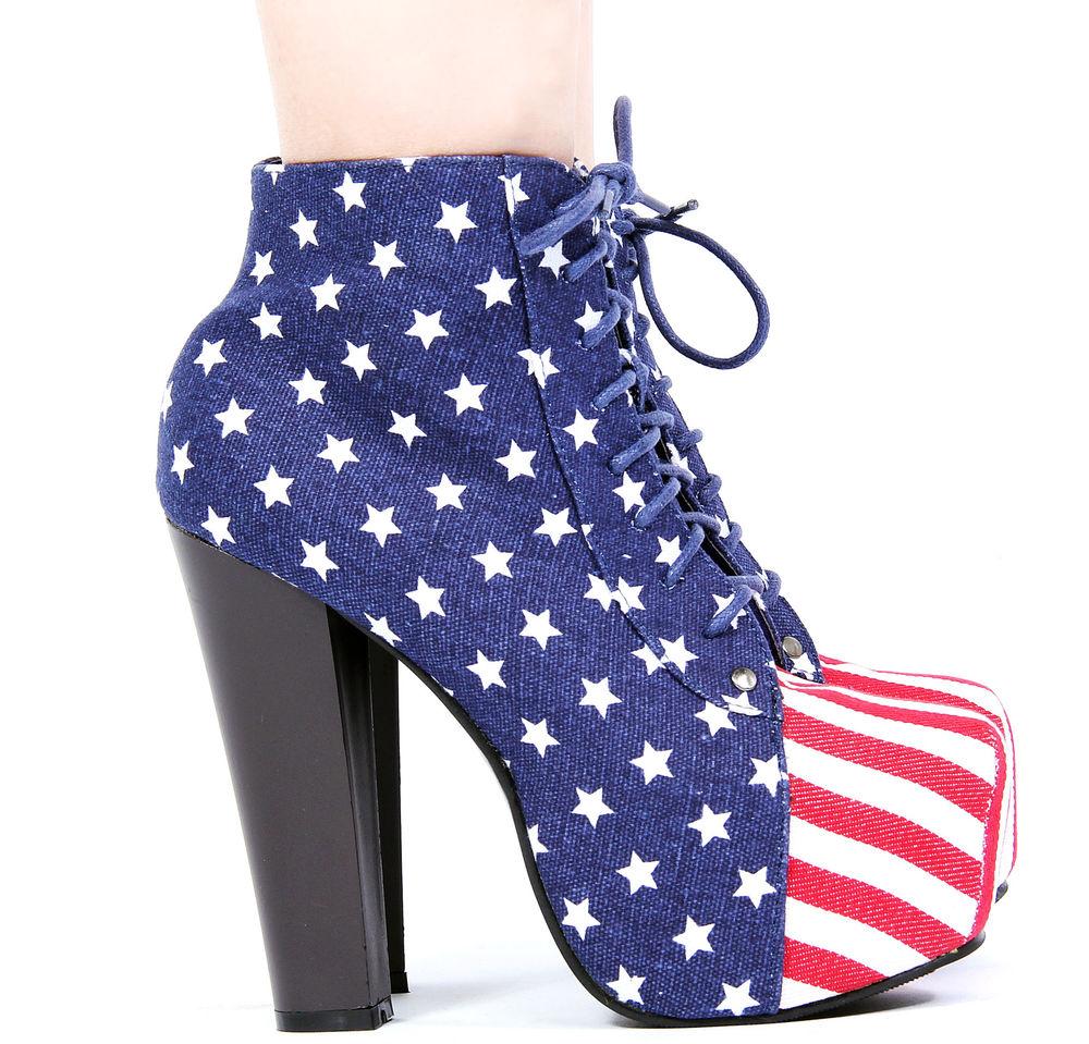 New Womens American Flag Lita Platform Boots Lace Up High Heel Booties | eBay
