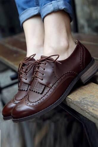 shoes vintage brown details folk low heel pale ugg激安 unisex boyish preppy