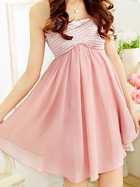 Rhinestone Strapless Tiered Mesh Dress Pink  -  DressLuck.com