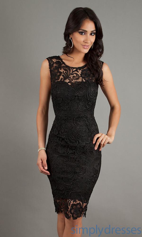 dress black lace dress sweetheart neckline short sleeve