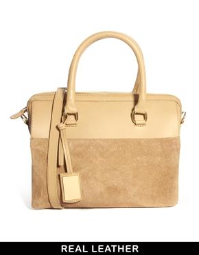 ASOS   ASOS Leather Suede Mix Bowler Bag at ASOS