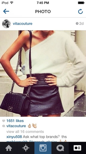 sweater white sweater one shoulder hipster bag skirt one shoulder shirt winter sweater black leather skirt textured top black leather bag leather purse streetwear streetstyle short skirt long sleeves one shoulder s