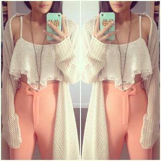 blouse peach pants oversized cardigan cross necklace pants sweater coral cute baby girly girl hipster lovely high waisted shorts high waisted pants coat jacket cardigan oversized cute outfits instagram cartigan pink shirt crop shirt