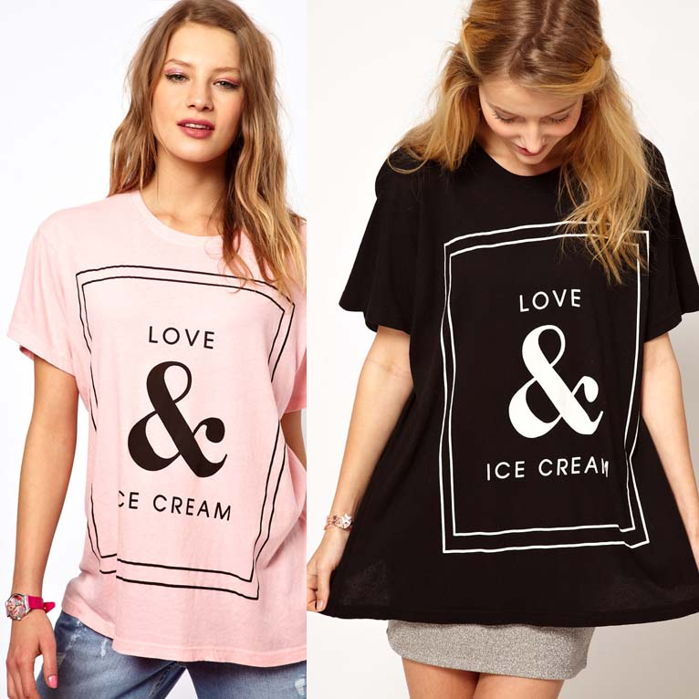 Womens cotton o neck loose t shirt with Love & Ice Cream printed for freeshipping and wholesale-inT-Shirts from Apparel & Accessories on Aliexpress.com