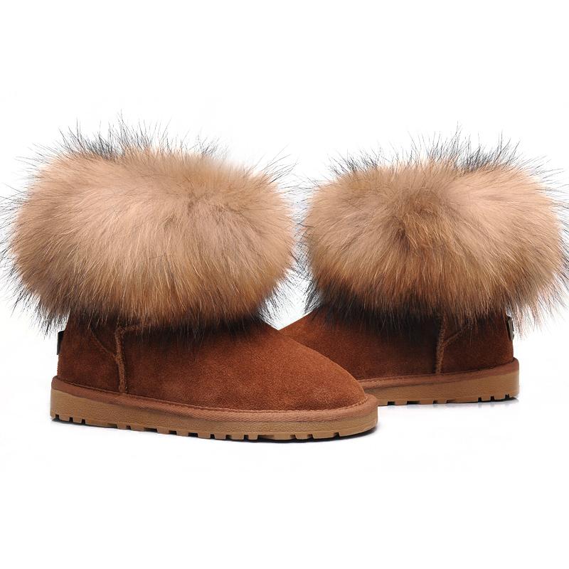 Womens UGG Fox Fur Sheepskin/Fox Mini Boots 5854 Chestnut Hot Sale