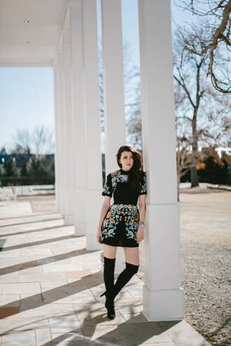 themiddlecloset blogger dress shoes jewels printed dress thigh high boots boots
