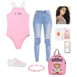 jumpsuit pink jeans bodysuit