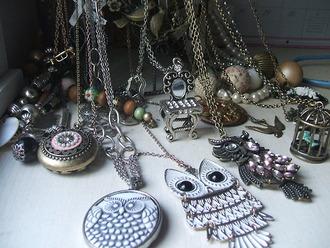 necklace gold silver rock romantic cute owl vintage jewels