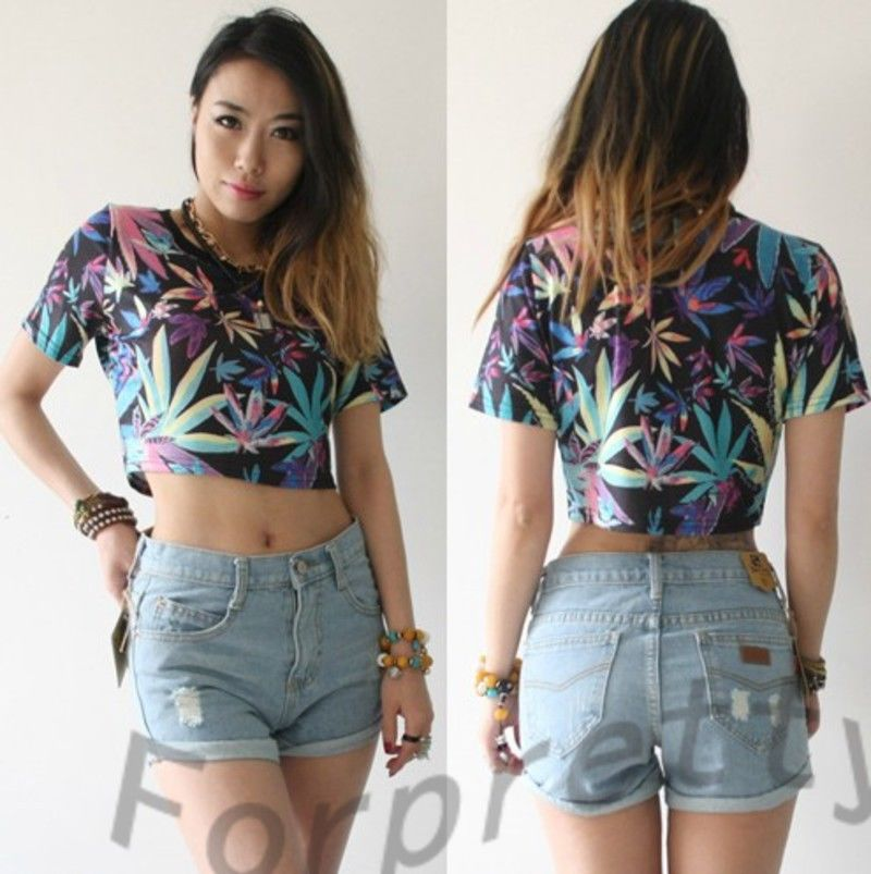Sexy Belly Maple Leaf Print Bare Midriff Crop Top Short Tee T Shirt T36MY   eBay