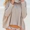 Apricot turtleneck slit back sweater -shein(sheinside)