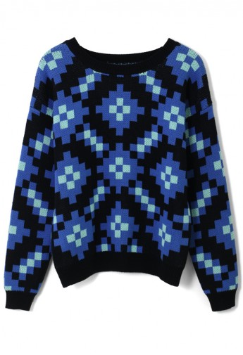 Color Block Sparking Sweater - Retro, Indie and Unique Fashion