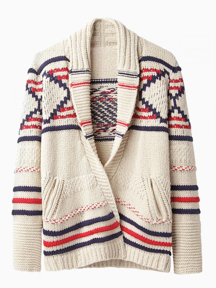 Geometric Pattern Beige Cardigan | Choies