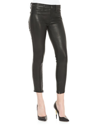 J Brand Jeans Bonded Stud Leather Cropped Pants - Bergdorf Goodman