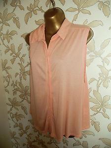 TOPSHOP Salmon Pink Sleeveless Shirt UK 14 | eBay