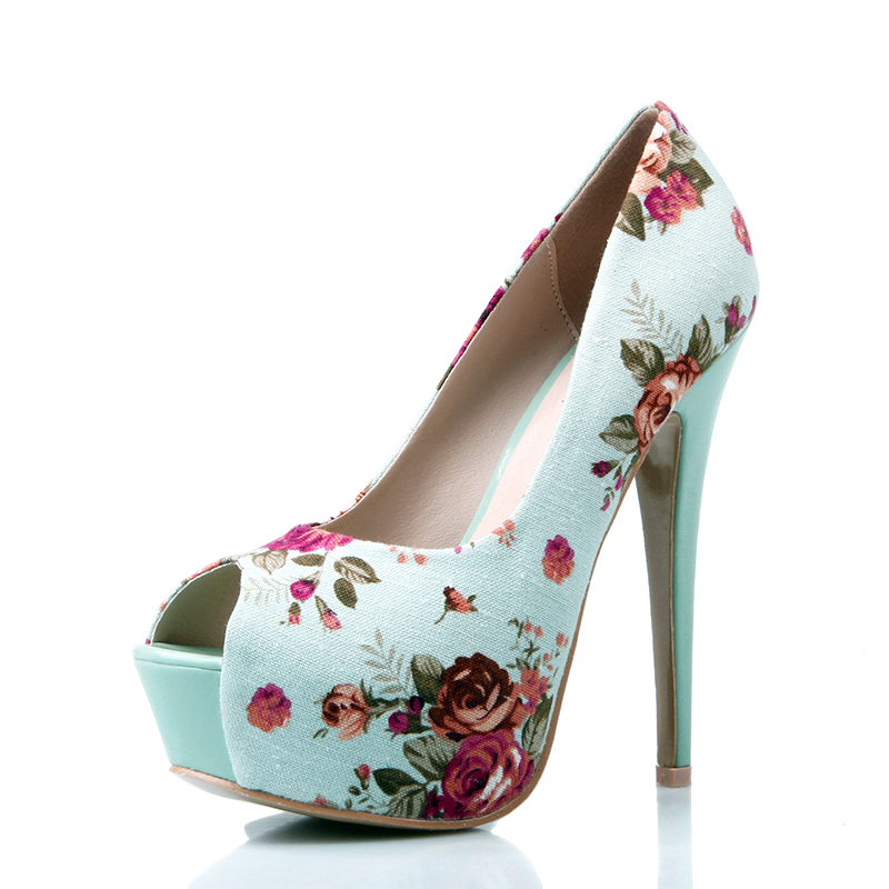 Club Party Blue Mint Beige Black 15 Cm 6 Inch Floral Print Shoes Vintage Style Platform High Heels Stiletto Pumps For Women-inPumps from Shoes on Aliexpress.com