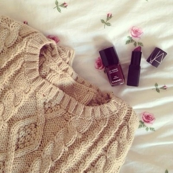 sweater oversized sweater pink light pink light pink knitted sweater nail polish