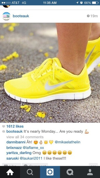 shoes yellow nike trainers