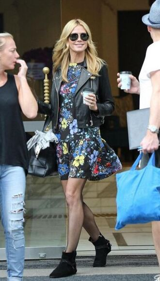 dress floral floral dress heidi klum ankle boots jacket fall outfits
