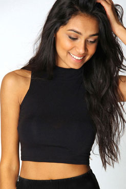 Victoria Roll Neck Sleeveless Crop Top at boohoo.com