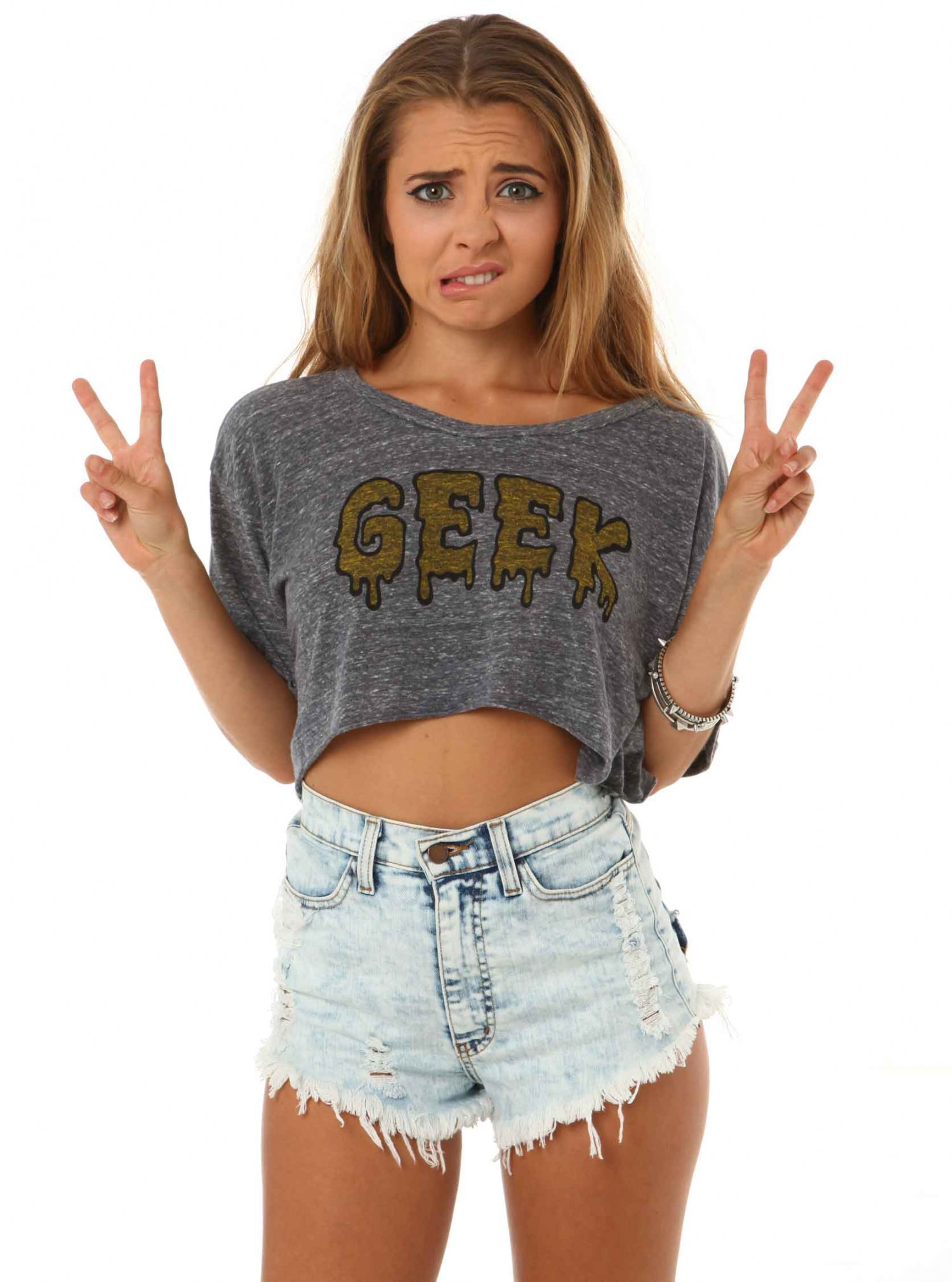 Fashion 2017 swag - Gray Short Sleeve Top Geek Crop Top Ustrendy