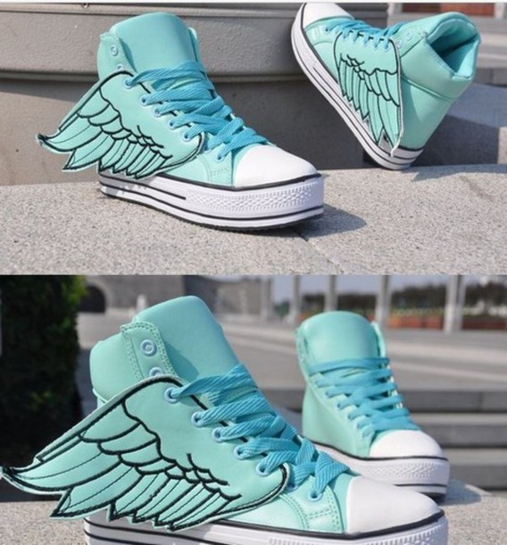 shoes fairy kei canvas converse winged shoes