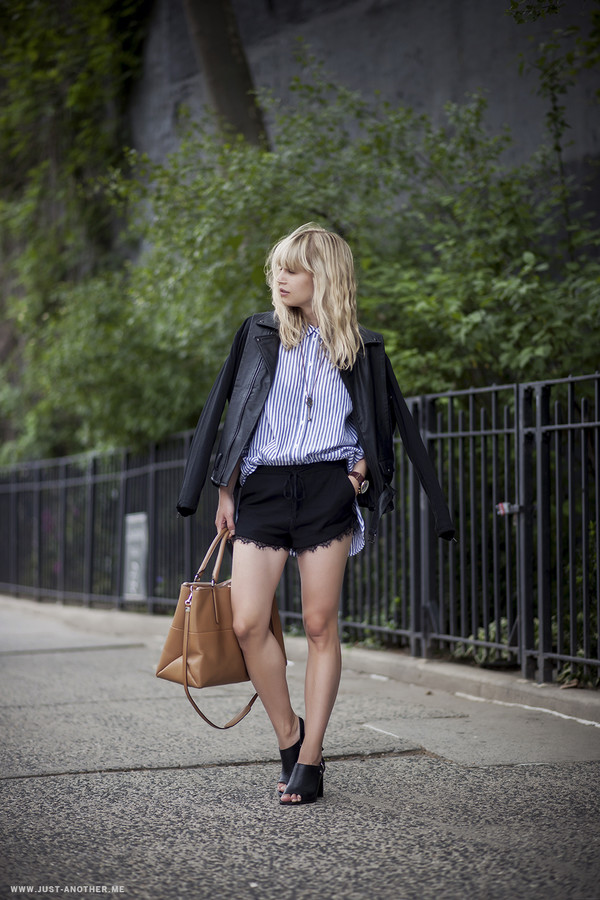 just another me jacket shorts shirt jewels bag