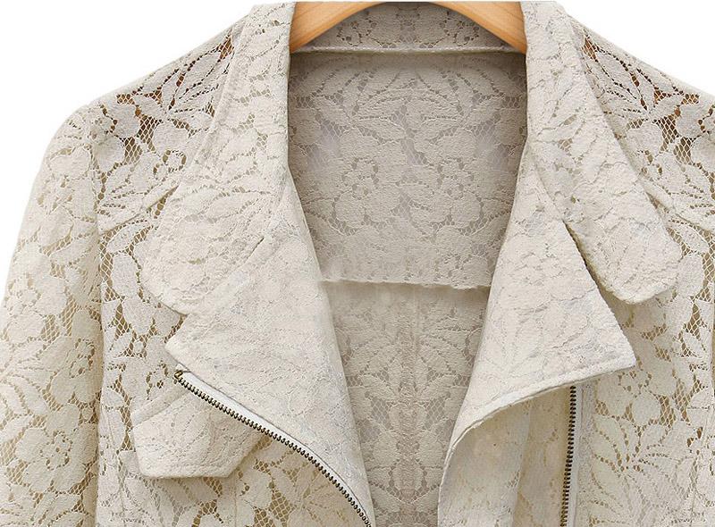 Beige Long Sleeve Hollow Lace Crop Outerwear - Sheinside.com