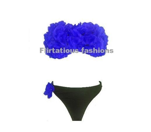3D FLOWER PETAL BANDEAU BIKINI BRIEF SET TOWIE STYLE BLUE BLACK | eBay