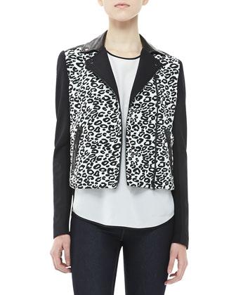 Rebecca Taylor Leopard-Print Moto Jacket - Bergdorf Goodman