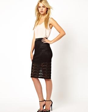 Mina   Mina Lace Pencil Skirt at ASOS