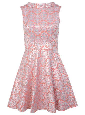 Coral Floral Jacquard Dress - Dresses  - Clothing  - Miss Selfridge